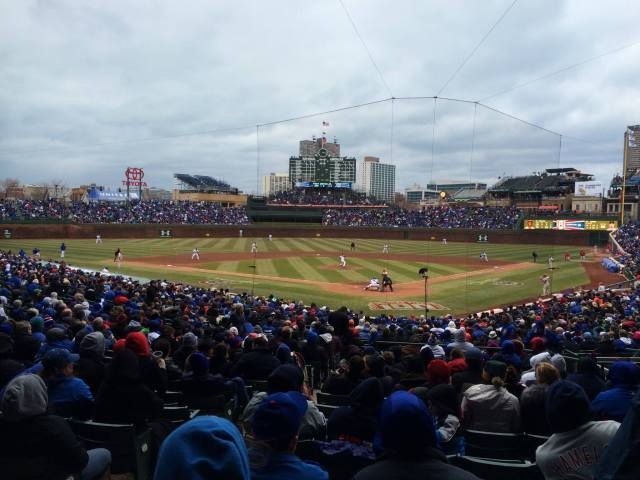 Wrigley Field in April