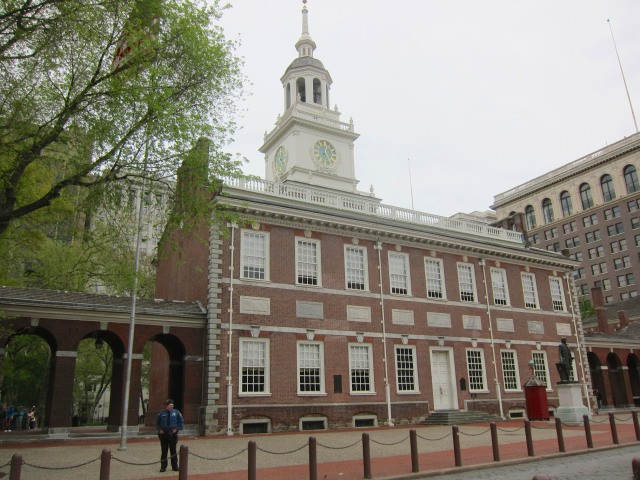 Independence hall. The bottom floor, left three windows is the room where the Declaration of Independence was written.