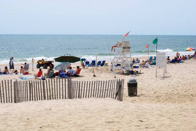 Crowded private beach in East Hampton