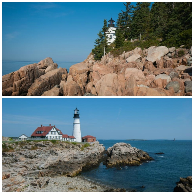 Bass Harbor lighthouse and Portland Head lighthouse, respectively