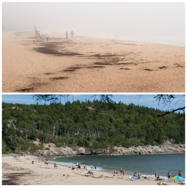 Sand Beach with and without fog, respectively (obvi)