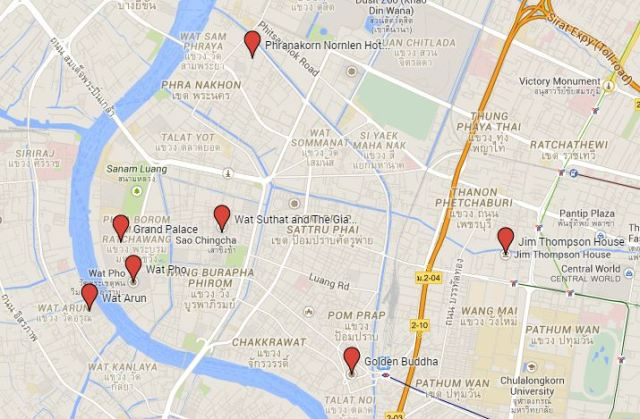 Map of the old town in Bangkok, Thailand