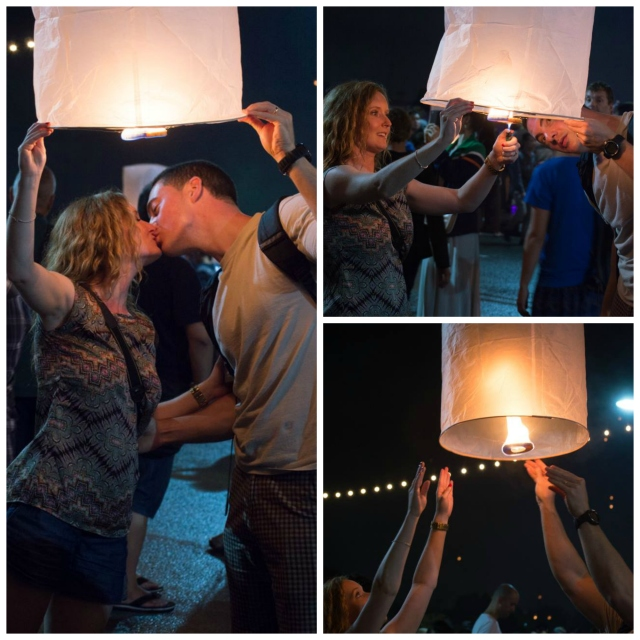 Lighting our lantern in the Loy Krathong festivities