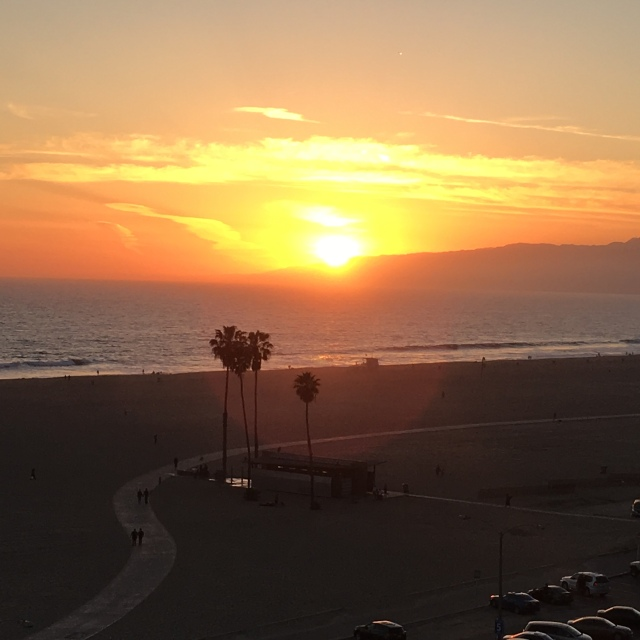 The sun setting over Santa Monica