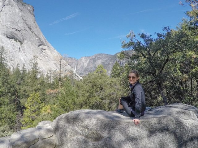 Taking a quick break from the uphill hike to the Vernall Fall Footbridge