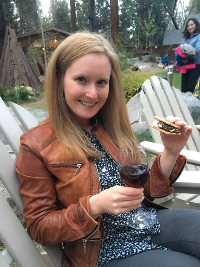 S'mores and wine at Evergreen Lodge